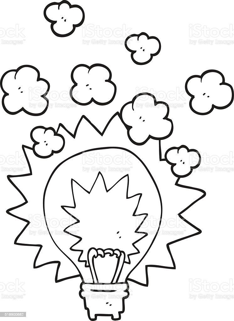 Black And White Cartoon Light Bulb Shining Stock Vector Art More
