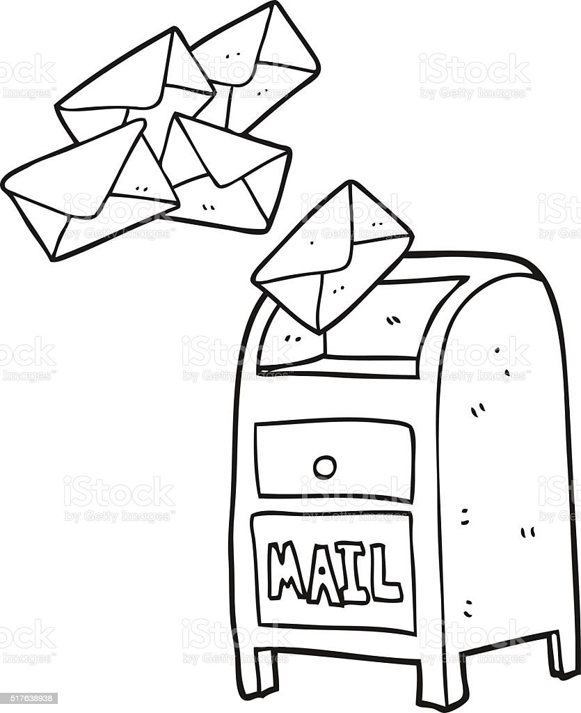 Black And White Cartoon Mail Box Stock Vector Art More