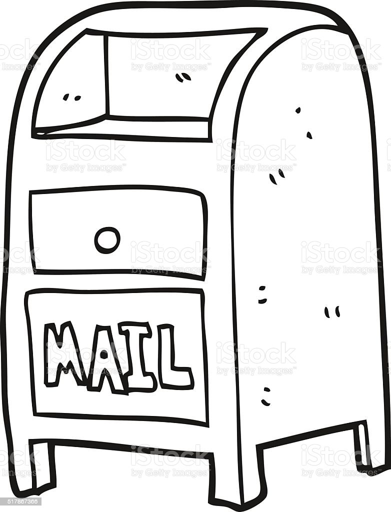 black and white cartoon mail box stock vector art more images of rh istockphoto com
