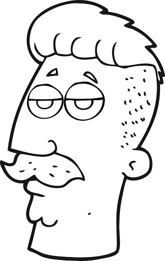 Vetores De Preto E Branco Homem Dos Desenhos Animados Com Hipster