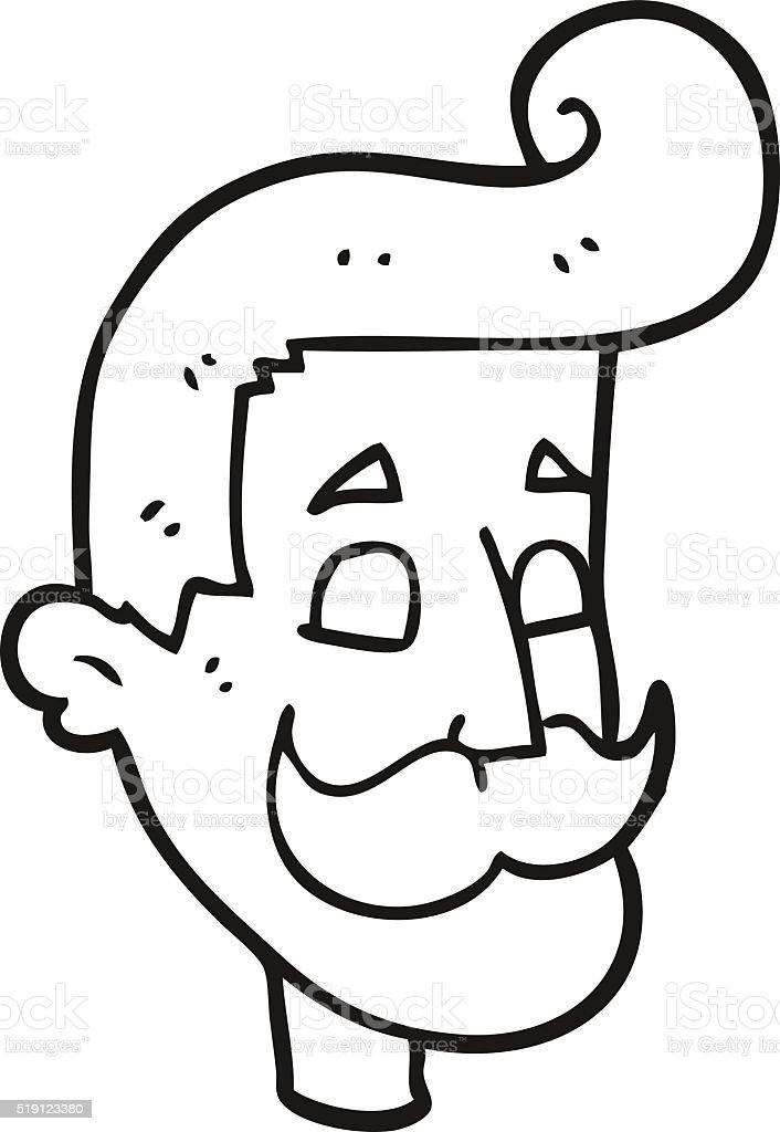 Bianco E Nero Fumetto Di Uomo Con I Baffi Immagini Vettoriali