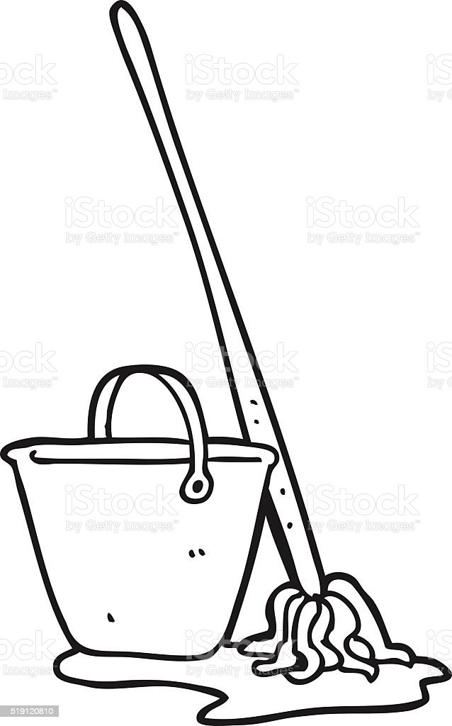 Black And White Cartoon Mop And Bucket Stock Vector Art