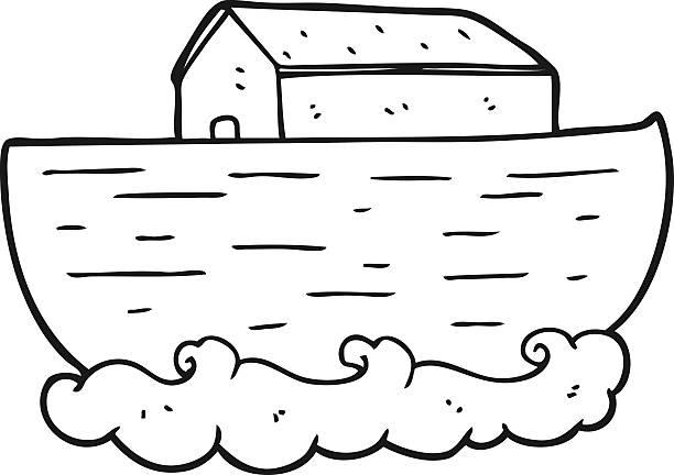 black and white cartoon noah's ark vector art illustration