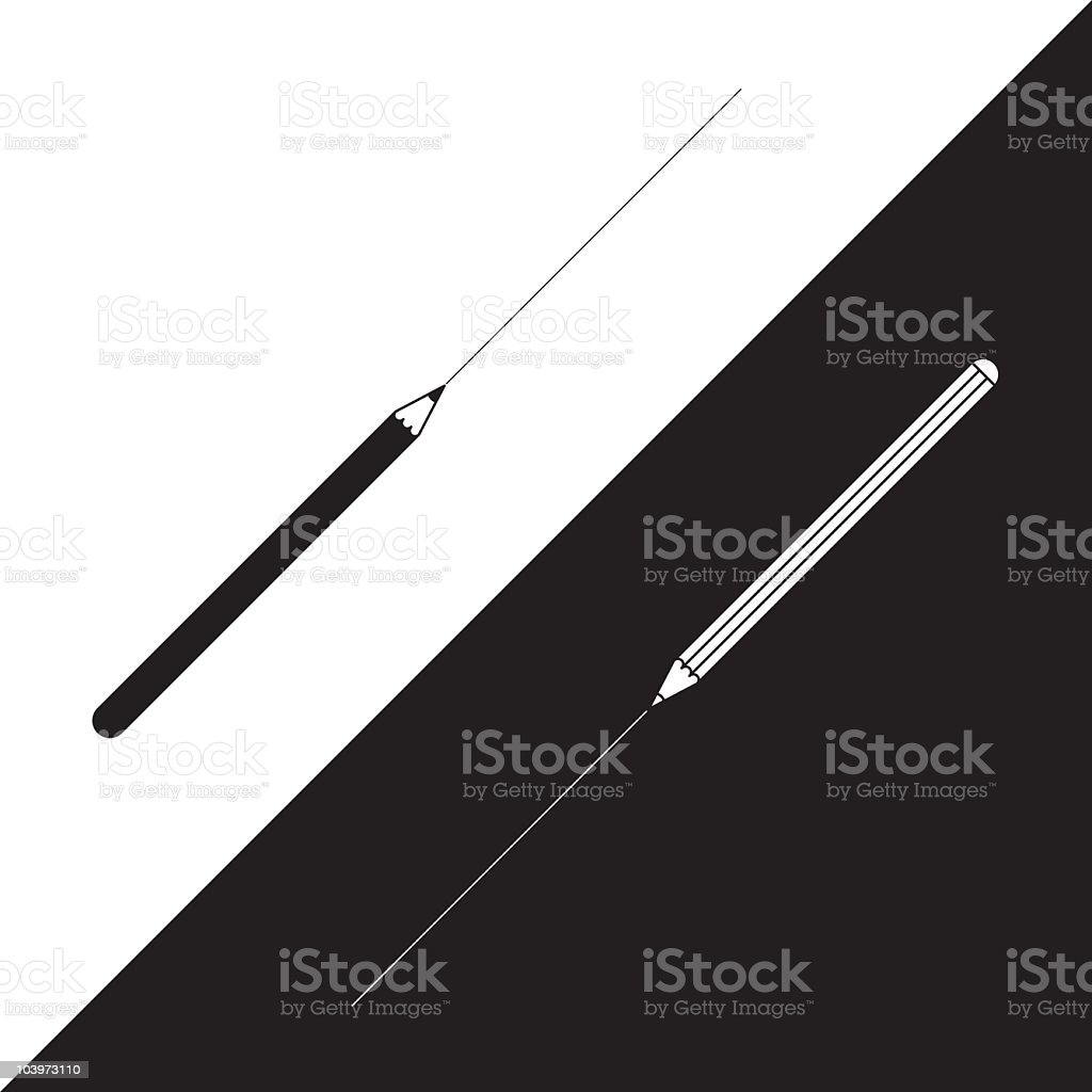 Black and white cartoon of pencils royalty-free stock vector art