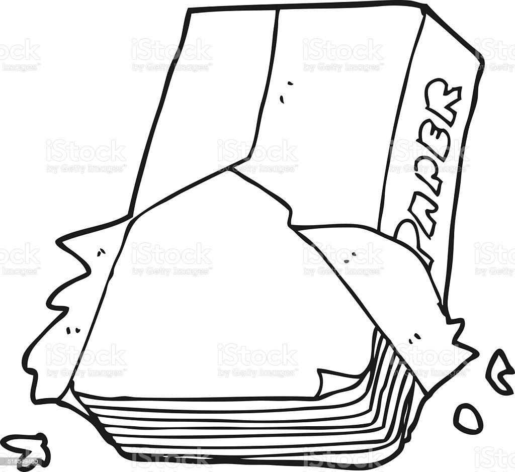Schwarz Und Weiss Cartoon Buro Papier Stock Vektor Art Und Mehr
