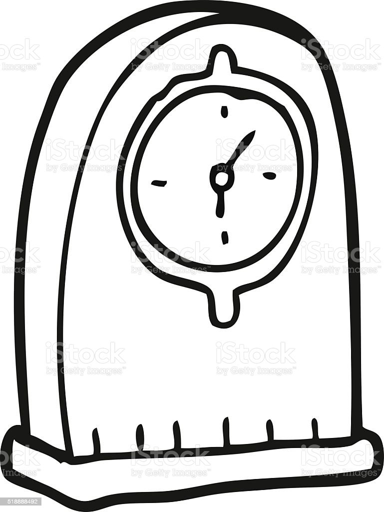 Schwarz Und Weiß Cartoon Alte Uhr Stock Vektor Art Und Mehr Bilder