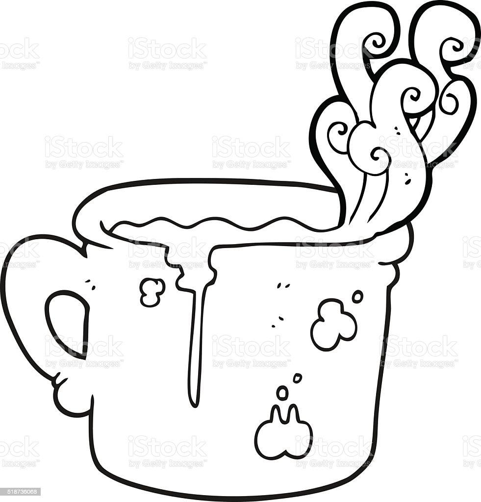 Black And White Cartoon Old Coffee Cup Stok Vektor Sanati Boyama