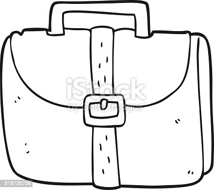 Black and white cartoon old work bag stock vector art more images of bag 518735706 istock - Image cartable maternelle ...