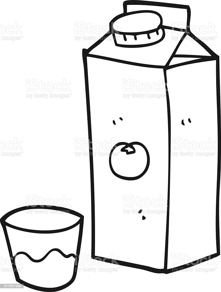 Black And White Cartoon Orange Juice Stok Vektör Sanatı Boyama
