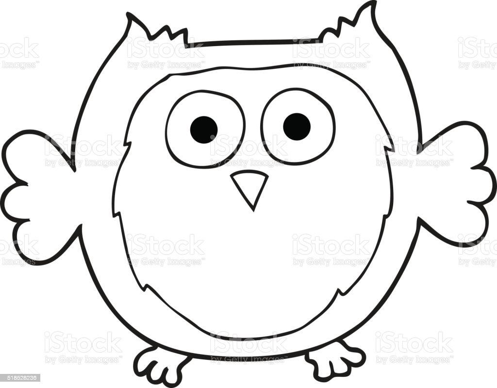 Black And White Cartoon Owl Stockvectorkunst En Meer Beelden Van