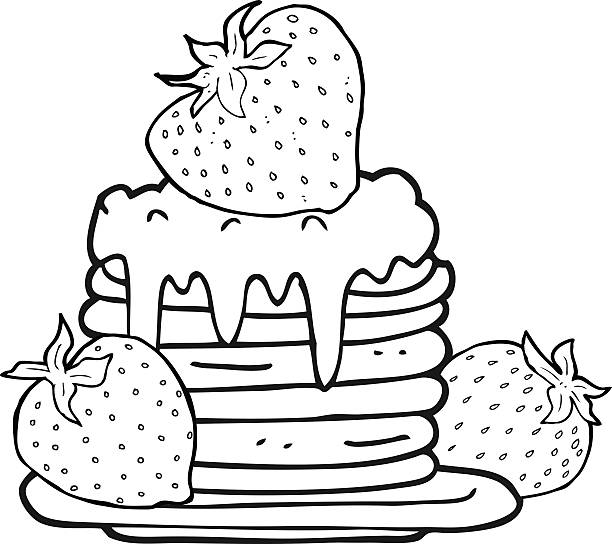black and white cartoon pancake stack with strawberries vector art illustration