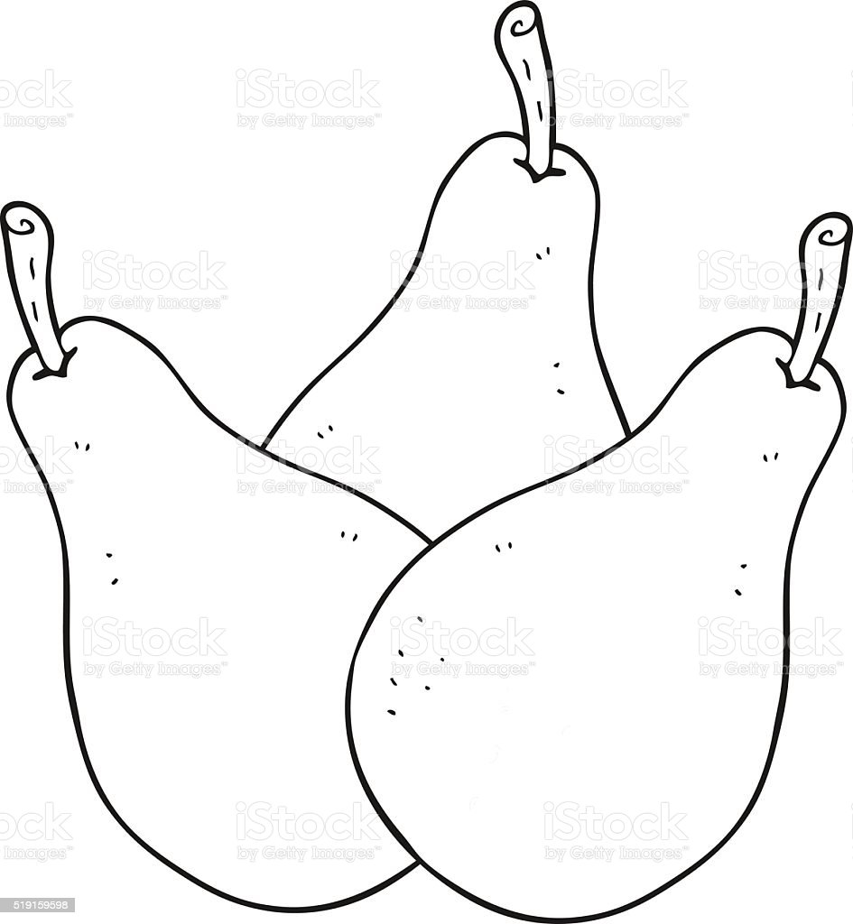 Black And White Cartoon Pears Stock Vector Art  for Pear Clipart Black And White  14lpgtk
