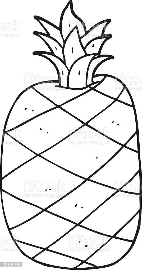 Black And White Cartoon Pineapple Stok Vektör Sanatı Ananasnin