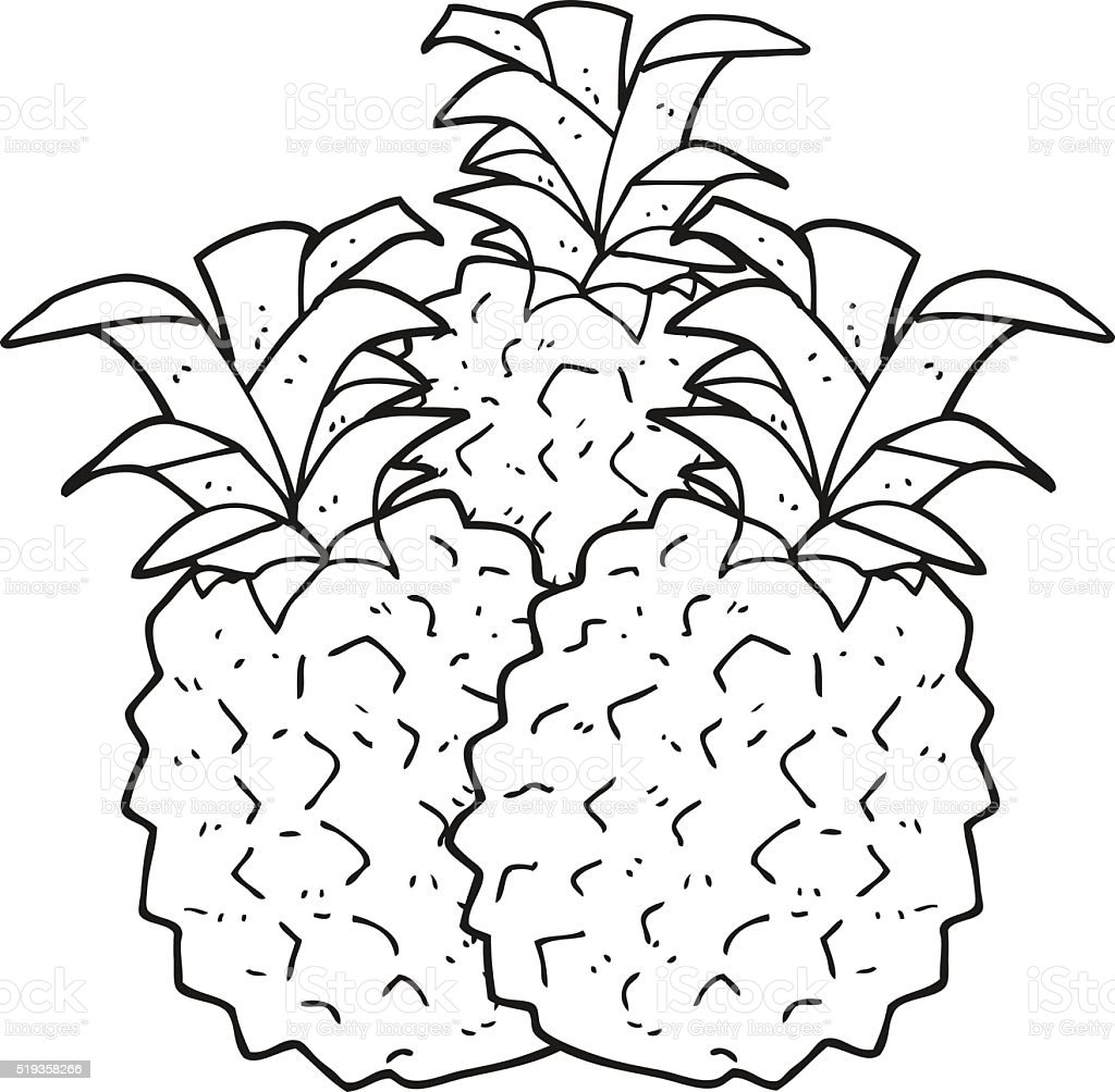 Black And White Cartoon Pineapple Stock Vector Art  for Clipart Pineapple Black And White  58cpg