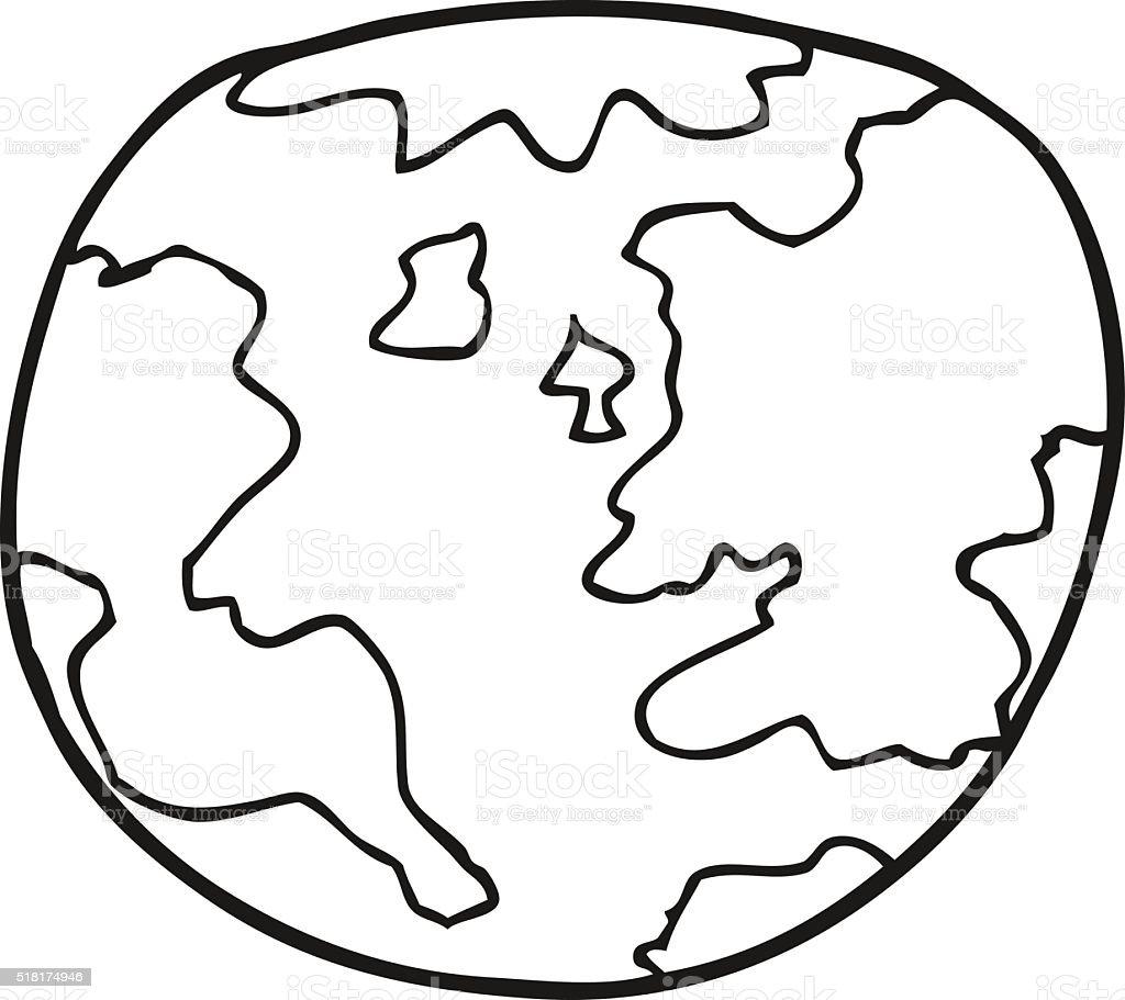 Noir Et Blanc Dessin Anime Planete Terre Vecteurs Libres De Droits