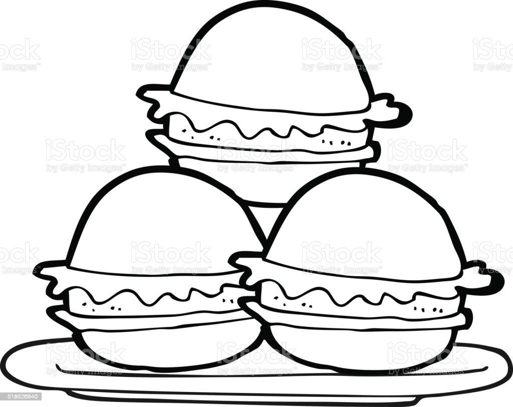 Schwarz Und Weiß Cartoon Teller Burger Stock Vektor Art und mehr ...