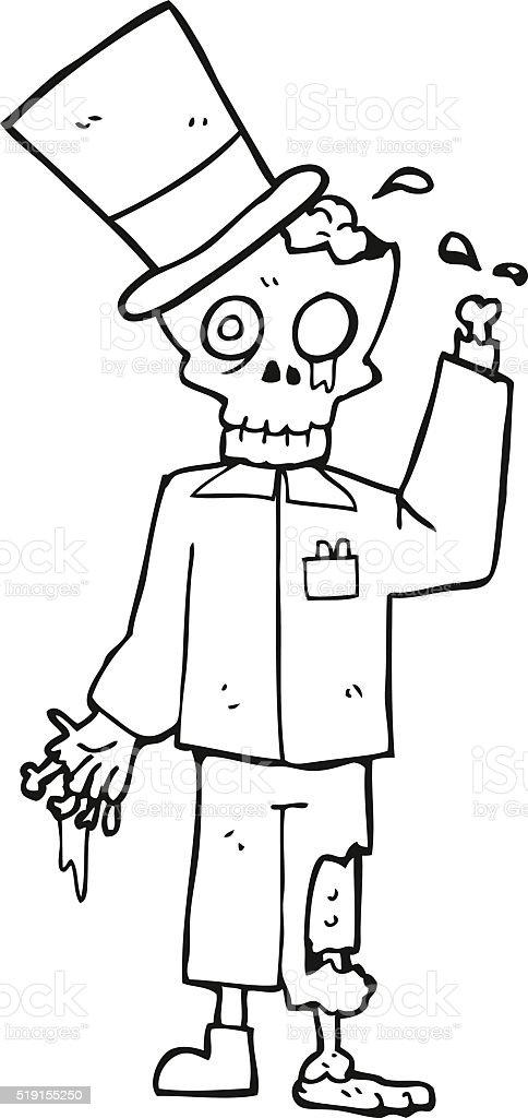 Black And White Cartoon Posh Zombie Stock Illustration Download