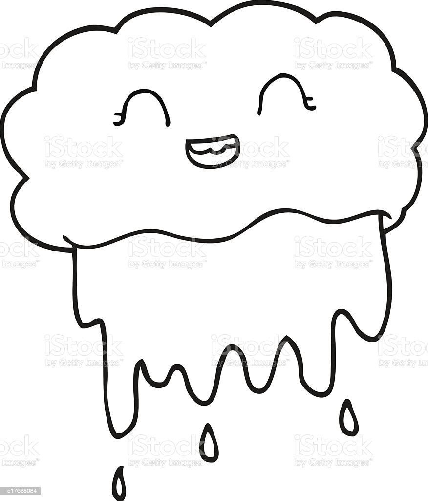 Black And White Cartoon Rain Cloud Stok Vektör Sanatı Boyama