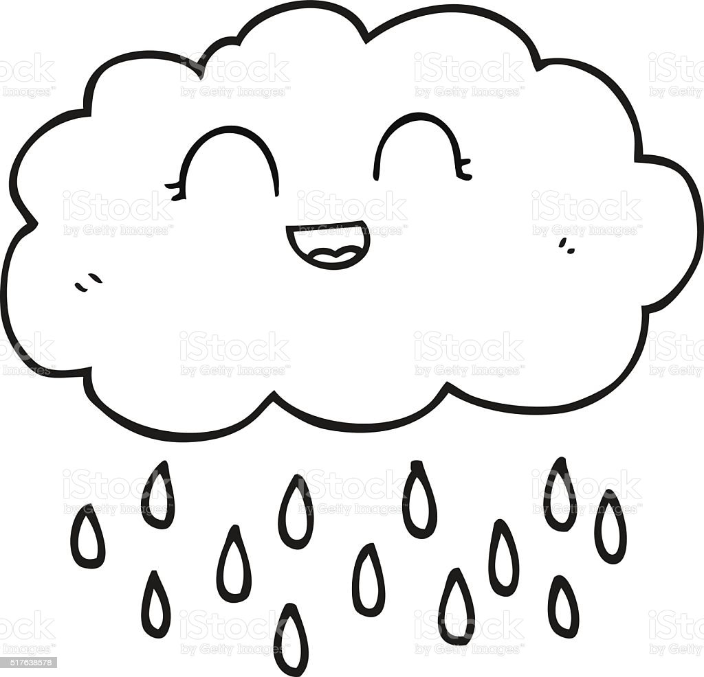 Black And White Cartoon Rain Cloud Stock Vector Art & More Images of ...