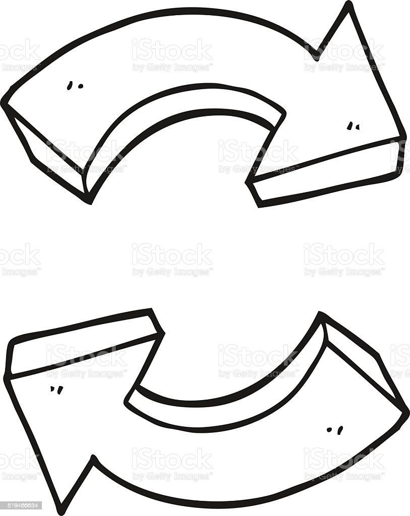 ilustração de preto e branco desenho setas de reciclagem e mais