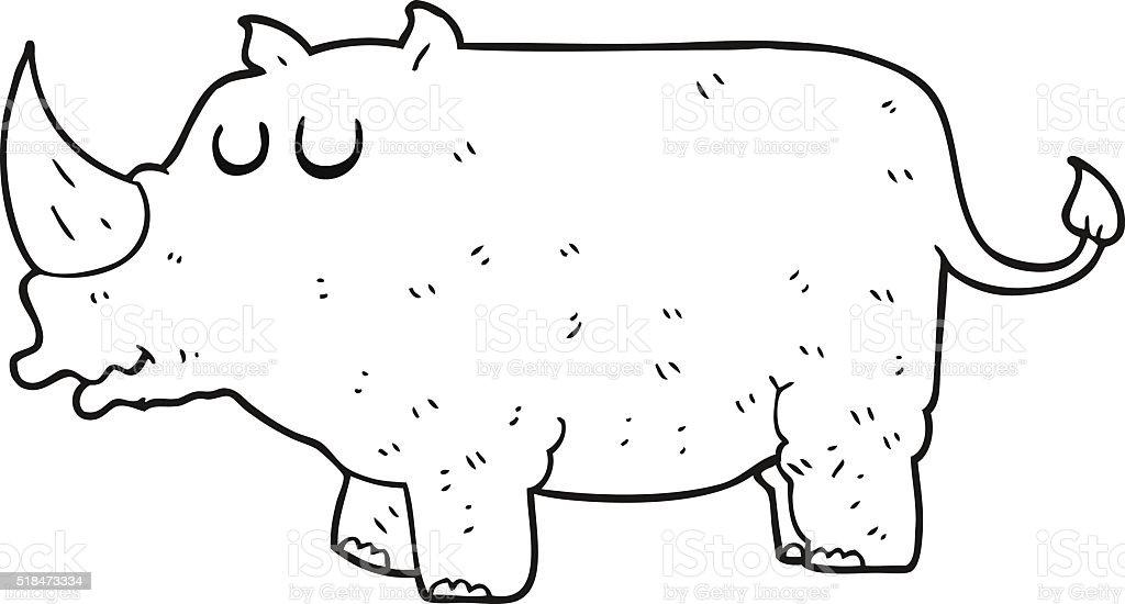 Schwarz Und Weiß Cartoon Nashorn Stock Vektor Art Und Mehr Bilder