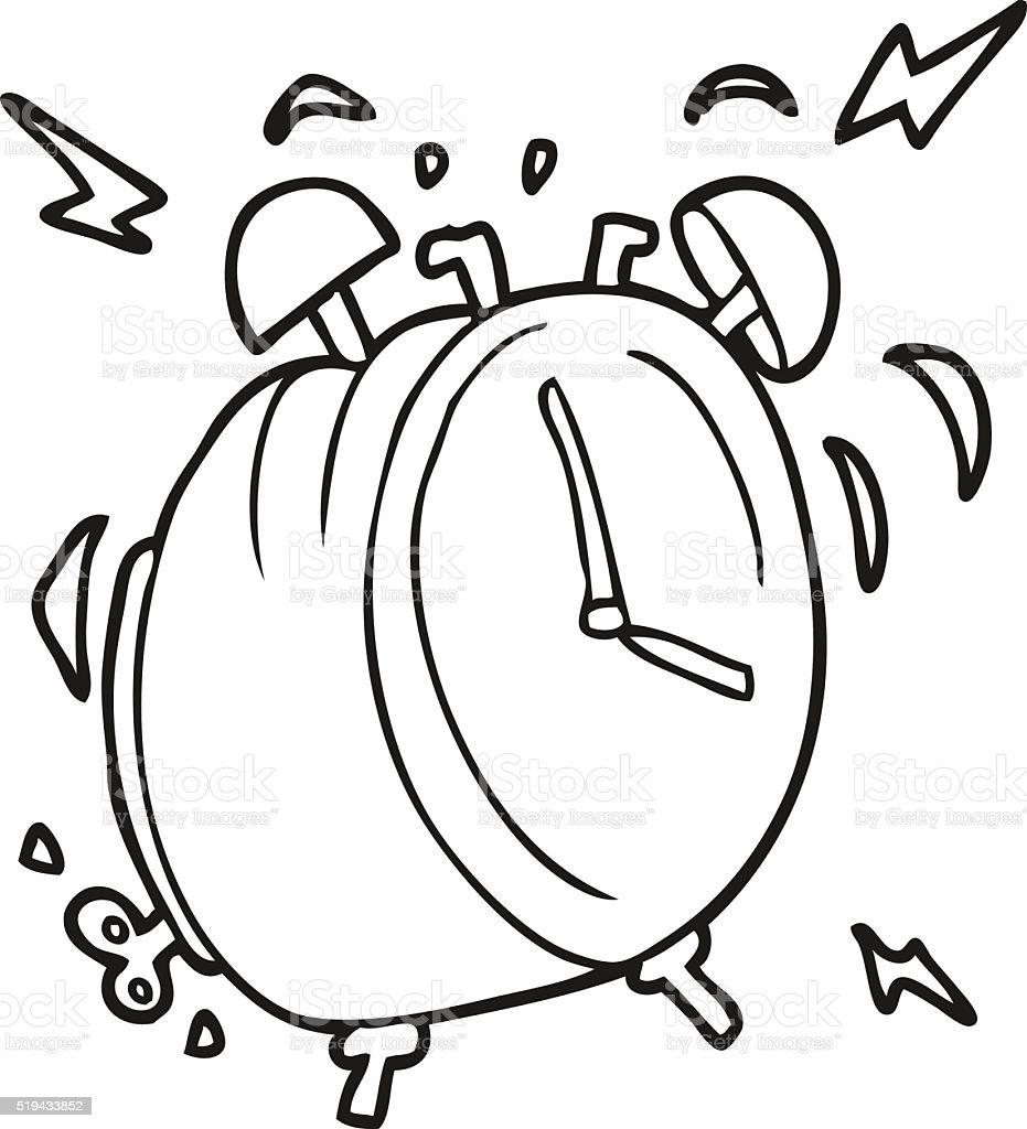 Vetores De Preto E Branco Desenho De Alarme Relogio Tocando E Mais