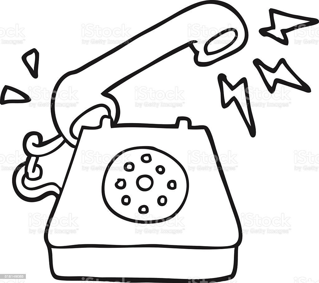 Black And White Cartoon Ringing Telephone Stock Illustration