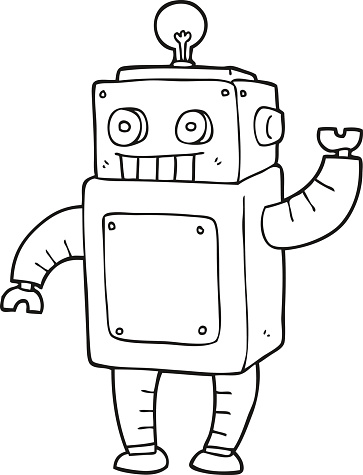 black and white cartoon robot stock illustration - download image now - istock