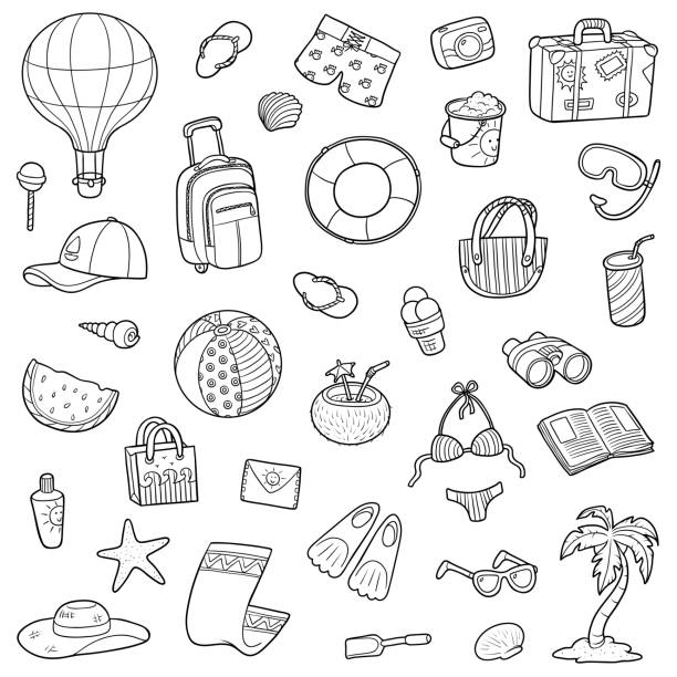 Black and white cartoon set of summer objects Black and white set of summer objects, vector cartoon collection beach clipart stock illustrations