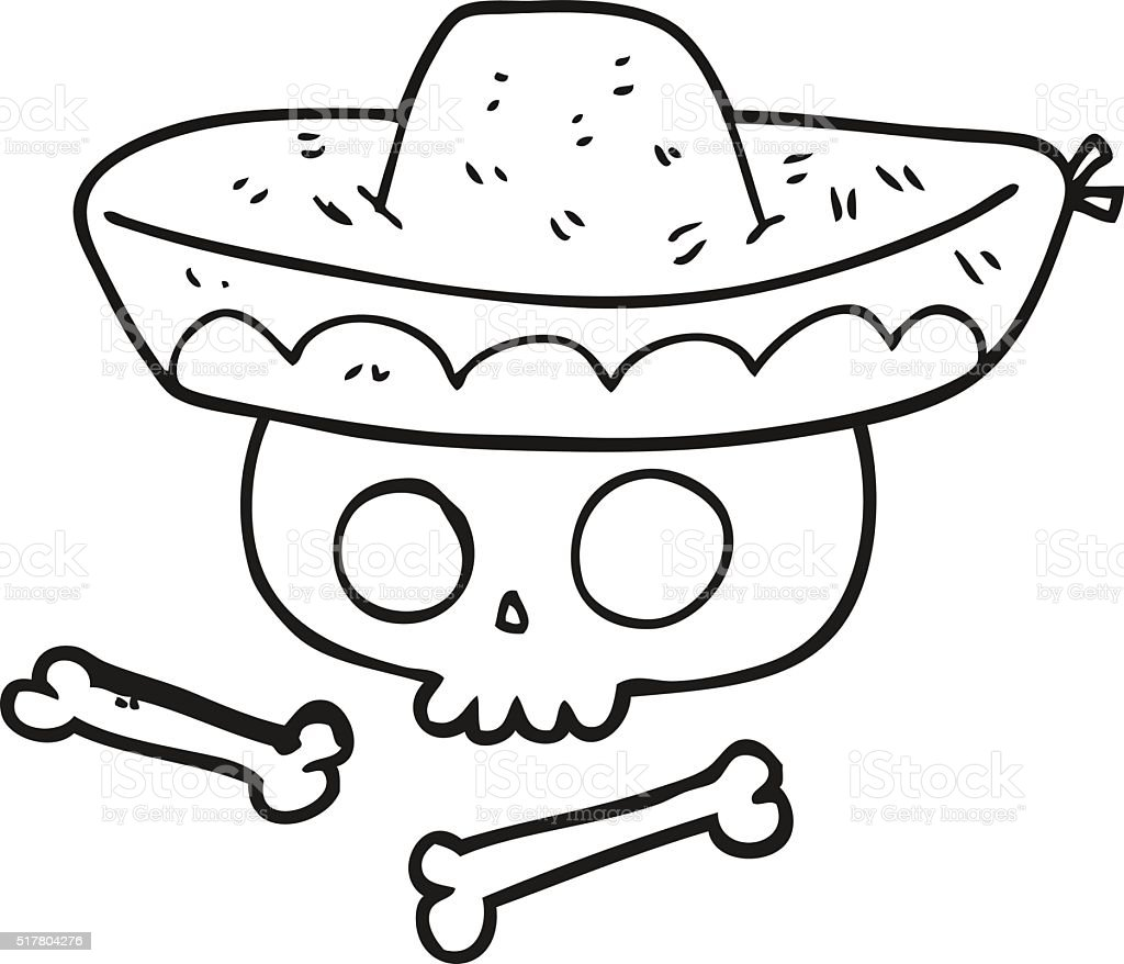 Blanco Y Negro Cráneo De Historieta En Sombrero Mexicana - Arte ...