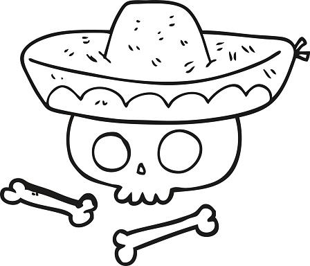 Vetores De Preto E Branco Desenho De Chapeu De Caveira Mexicana E