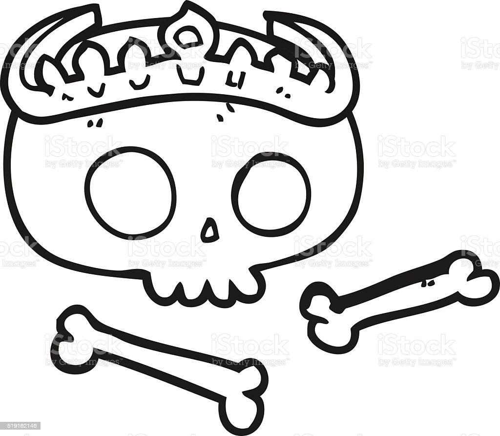 preto e branco mulher vestindo tiara de crânio arte vetorial de