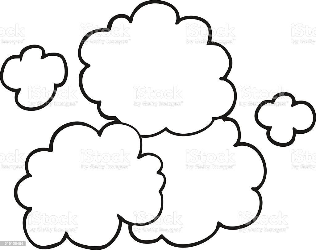 白黒カットイラスト煙クラウド いたずら書きのベクターアート素材や