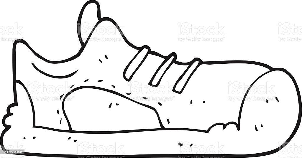 Black And White Cartoon Sneaker Stok Vektör Sanatı Ayakkabınin