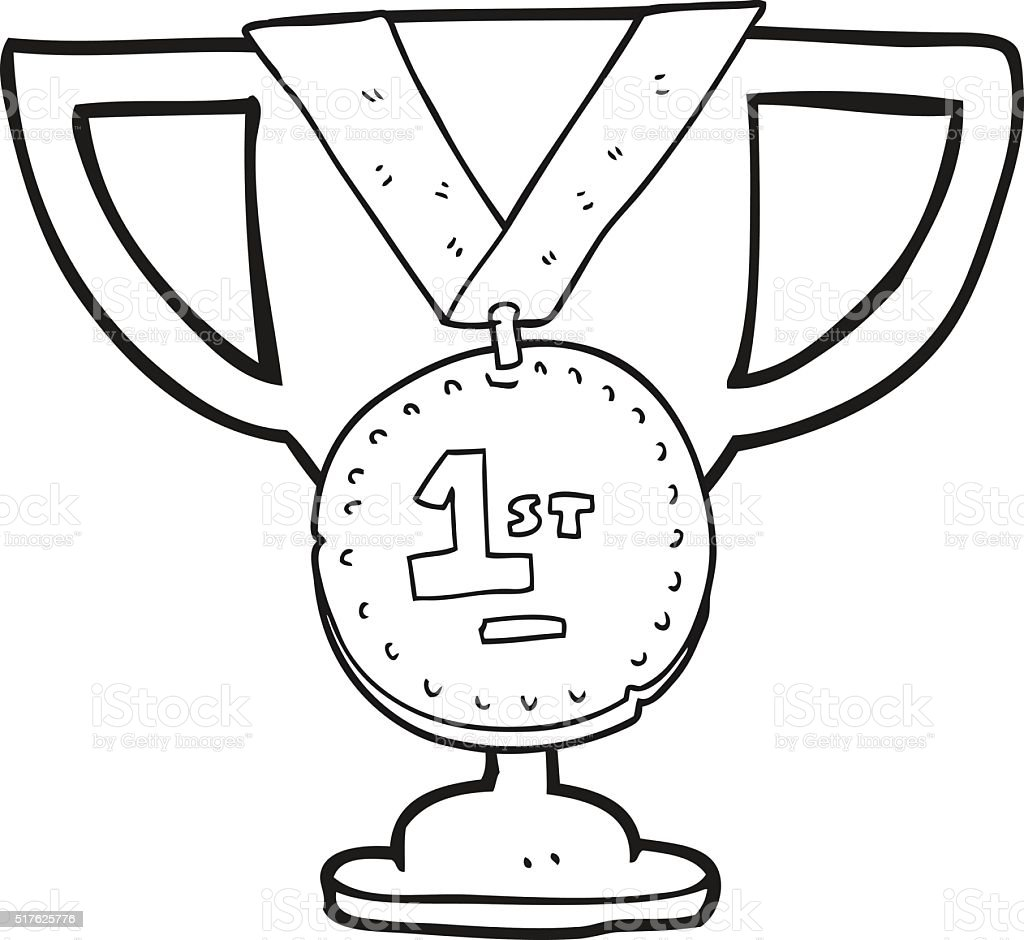 Black And White Cartoon Sports Trophy Stock Illustration Download Image Now Istock