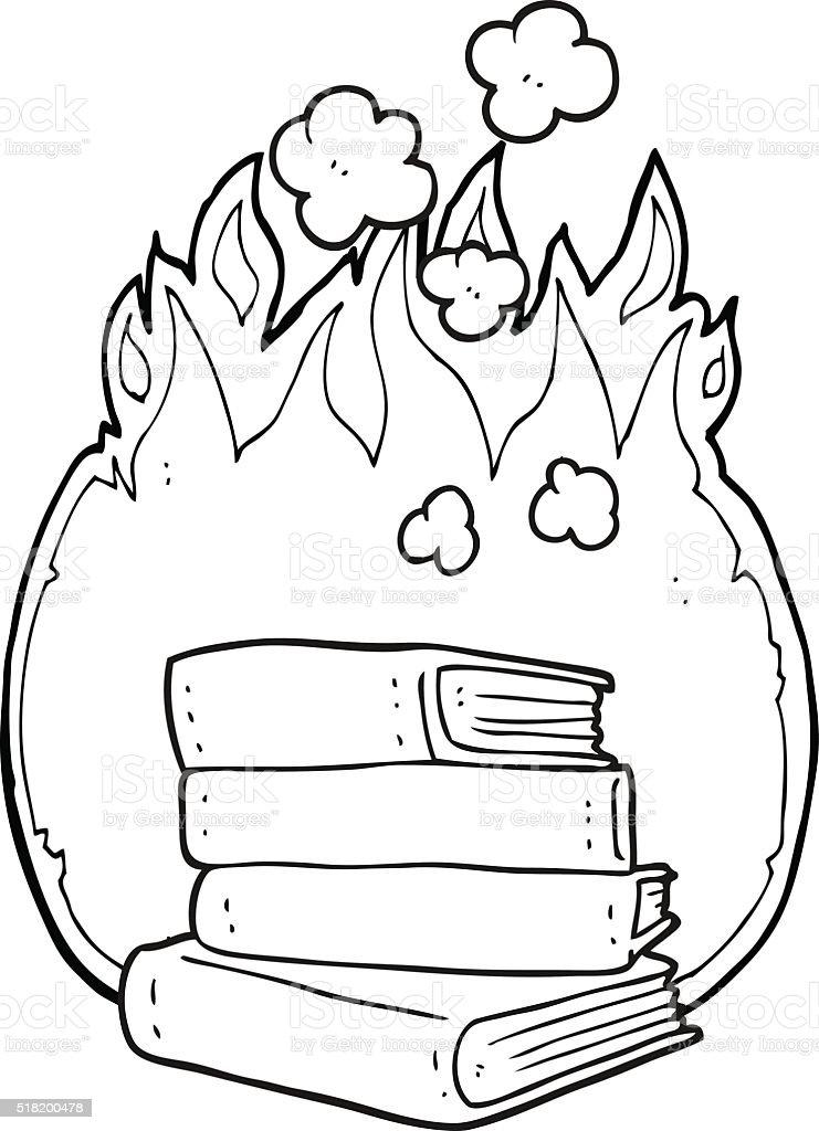 Noir Et Blanc Dessin Animé Pile De Livres à Brûler Vecteurs Libres