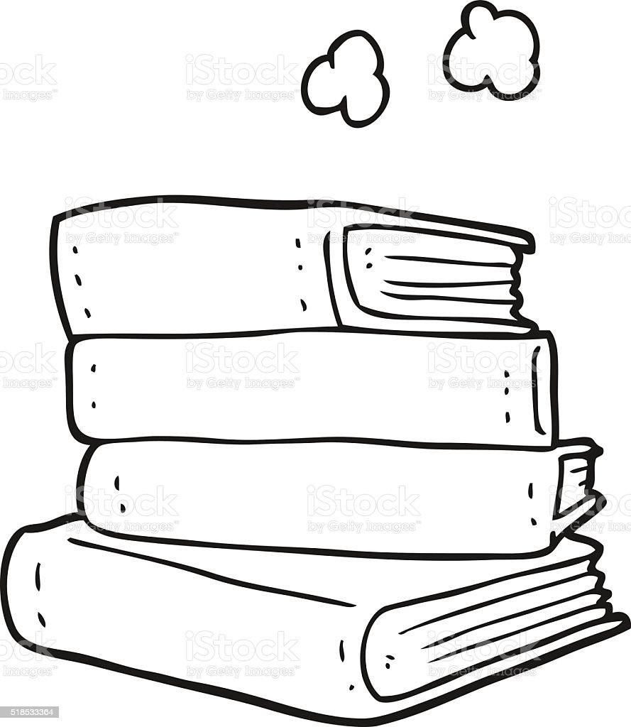 Noir Et Blanc Dessin Animé Pile De Livres Vecteurs Libres De