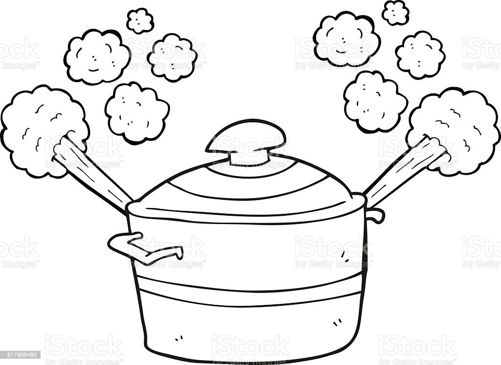 Black And White Cartoon Steaming Cooking Pot Stock Illustration Download Image Now Istock