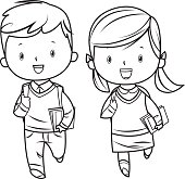 Vector Black and White Cartoon Students