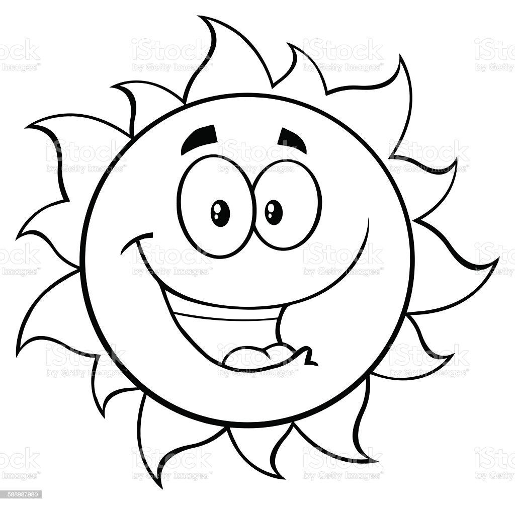 Black And White Cartoon Sun Mascot Stock Illustration ...