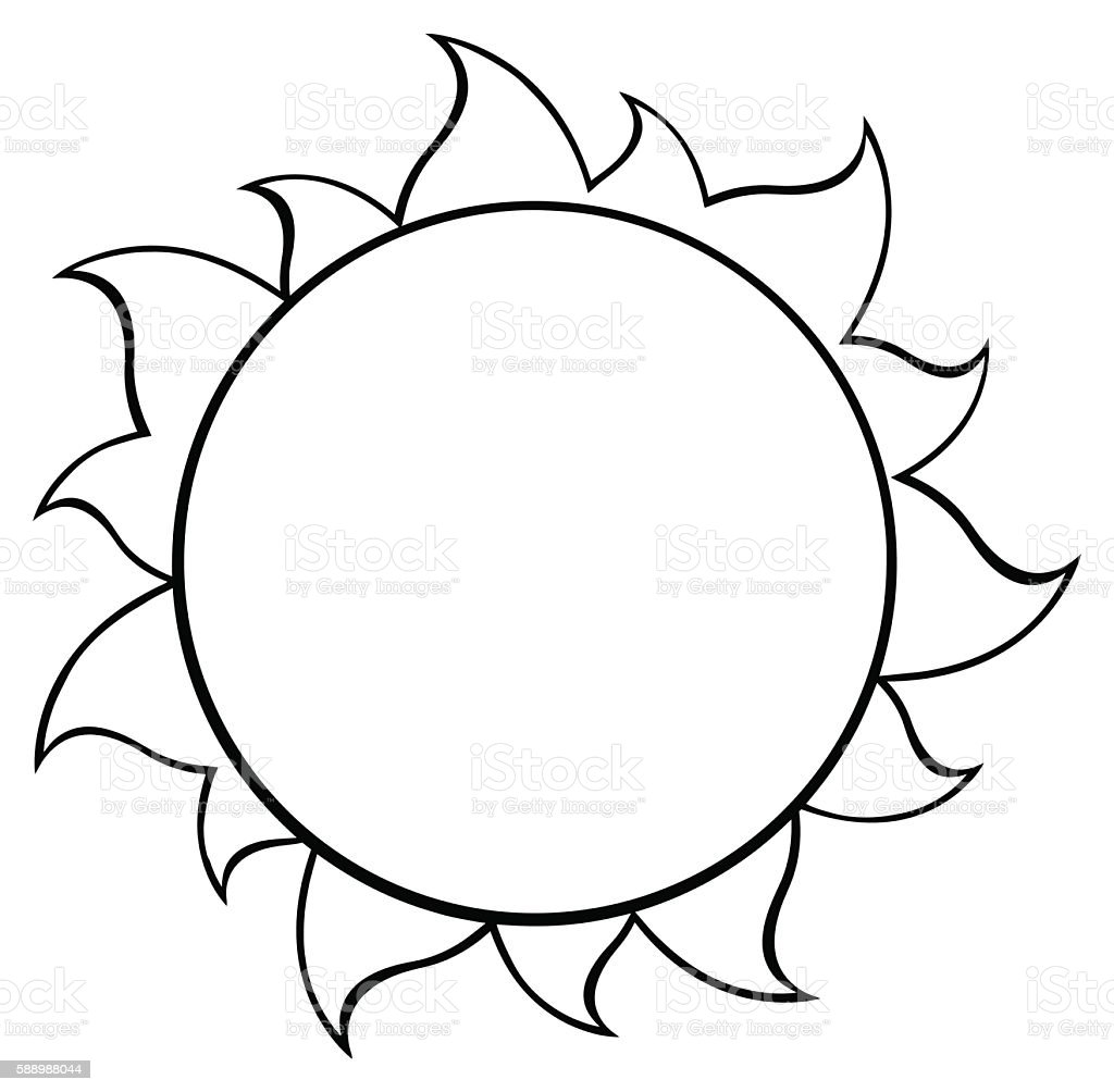 Black And White Cartoon Sun Stock Illustration Download Image Now