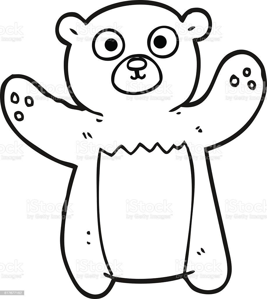 Black And White Cartoon Teddy Bear Stok Vektör Sanatı Ayınin Daha