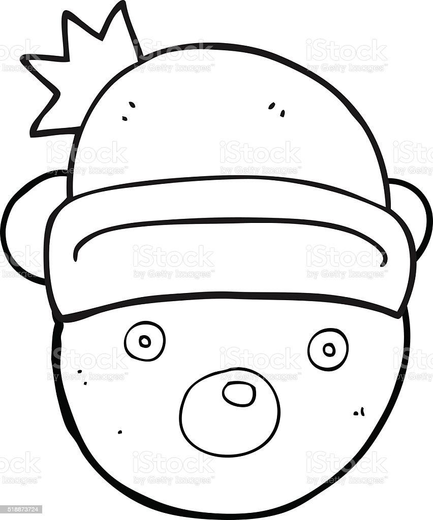 Noir Et Blanc Ours En Peluche Dessin Anime Portant Chapeau De Noel