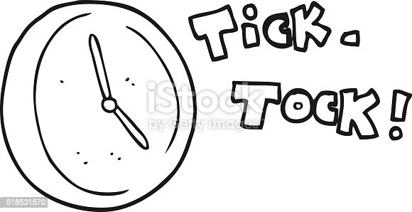 clock clipart black and white. black and white cartoon ticking clock stock vector art 518531570 istock clipart