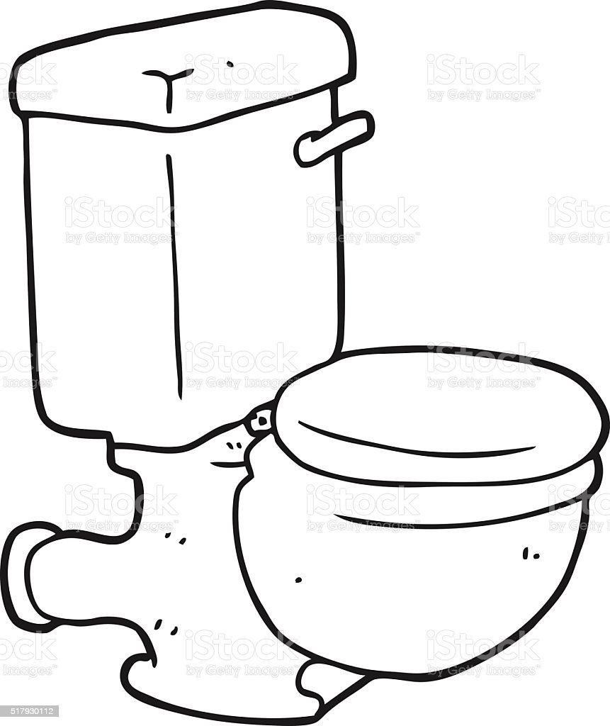 Black And White Cartoon Toilet Royalty Free Stock Vector Art