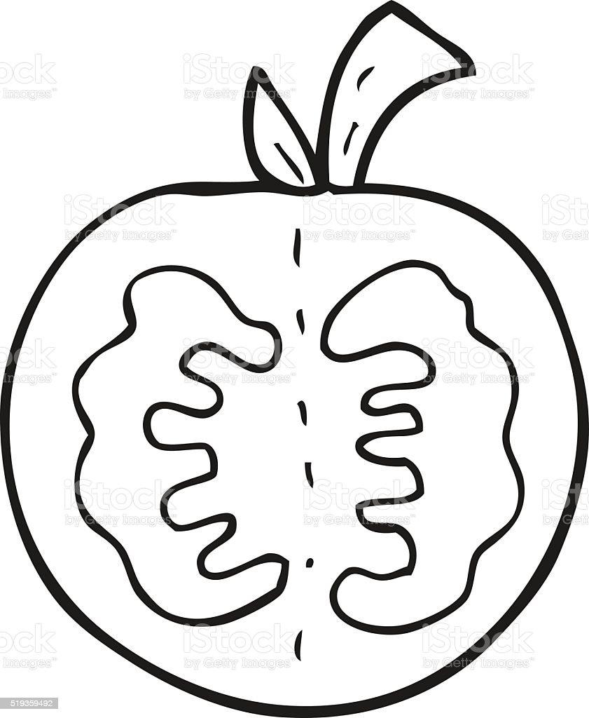 Black And White Cartoon Tomato Stok Vektör Sanatı Boyama Kitabı