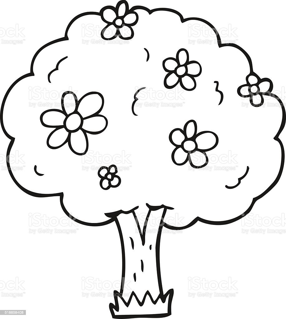 Black And White Cartoon Tree With Flowers Stock Vector Art More