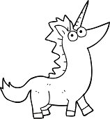 Black And White Cartoon Unicorn Coloring Book