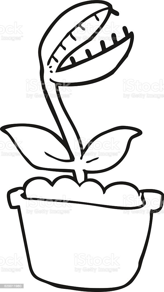 Black And White Cartoon Venus Fly Trap Stock Vector Art & More ...