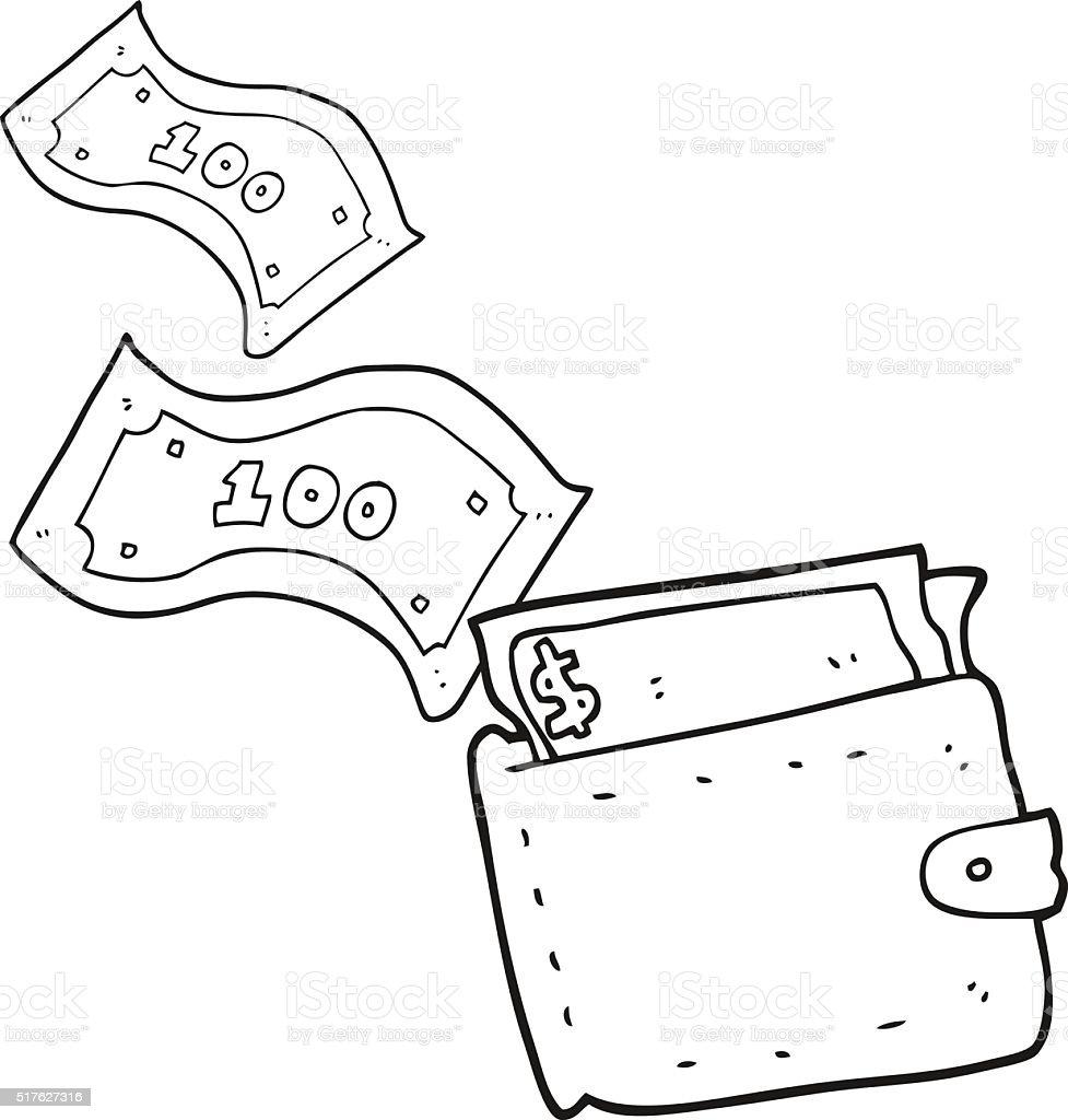 black and white cartoon wallet full of money stock vector
